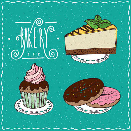 torte: Bakery set with Cheesecake, Cupcake with decoration of whipped cream, Donuts with chocolate frosting and pink glaze and colored sprinkles. cartoon style