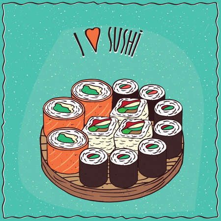 fish type: Set of different sushi rolls Maki or Makizushi type, on flat wooden plate. Cyan background and lettering I love sushi. cartoon style Illustration