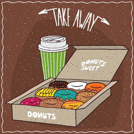 different courses: Set of different donuts in carton box and green paper cup of coffee. Take away kit for breakfast concept. Brown background. cartoon style