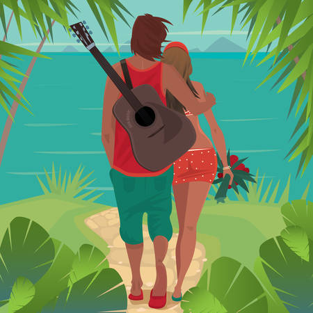 Young healthy couple is standing on a tropical island and looks at the distant islands. The guy with a guitar, hugs girl. Back view. Romantic or seclusion concept
