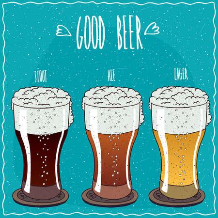 brewage: Set of glasses with different beer on beverage coaster or beermat. Dark beer such as stout, Brown beer such as ale, Light beer such as lager. cartoon style