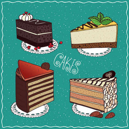 torte: Set of different cakes with Hungarian Dobos torte, Esterhazy with almonds, Chocolate coffee cake with layers of biscuit, Cheesecake. Handmade cartoon style Illustration