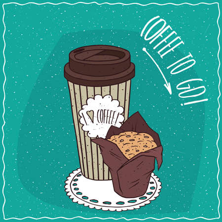 afters: Striped paper cup of coffee, on which the inscription I love coffee, with muffin in brown paper muffin cup. To go kit concept.  cartoon style