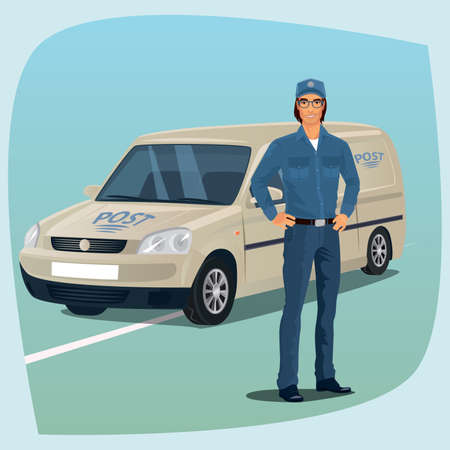 package deliverer: Postman, man from postal service, standing full face in uniform, hands on hips. In the background postal car. Express delivery mail concept. Cartoon style Illustration