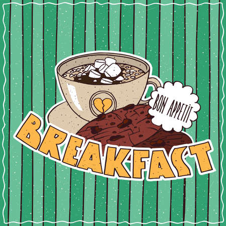 Conspicuous bright colorful food poster with chocolate cookies and cup of coffee in cartoon style, on cyan striped background. Lettering Breakfast and Bon Appetit