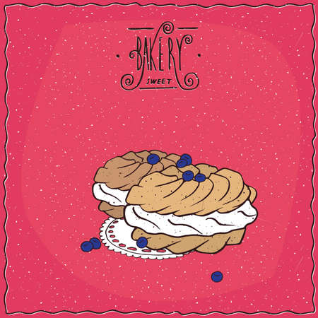 to lie: Traditional classic French profiteroles with cream, lie on lacy napkin. Red background and ornate lettering bakery. cartoon style