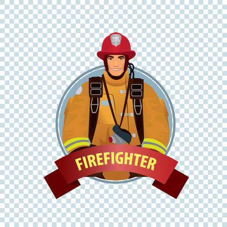 turnout: Isolate round icon on white background with firefighter, man from fire brigade in form of fireman, with personal protective equipment, bunker or turnout gear Illustration