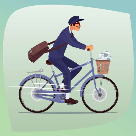 Adult funny man with mustache works as postman. He rides on bicycle with basket of newspapers and magazines. On the shoulder hanging bag with letters. Cartoon style Illustration