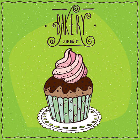 afters: Cupcake with chocolate and decoration of whipped cream, lie on a lacy napkin. Green background and ornate lettering bakery. Handmade cartoon style