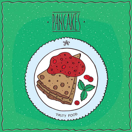 afters: Beautiful pancakes with red berries, cherry or currant, lie on the plate. Top view. Green background. cartoon style