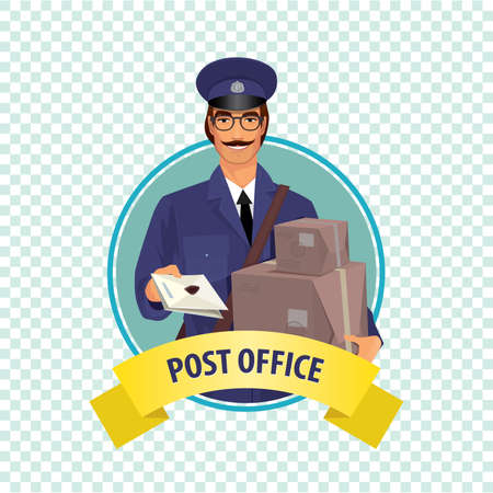 package deliverer: Isolate round icon on white background with postman, man from postal service in uniform, with letters, boxes and parcels. Express delivery mail concept. Cartoon style Illustration