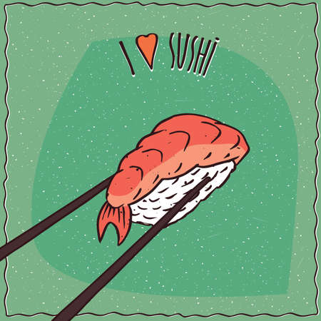 cooked rice: One pair wooden chopsticks holding delicious sushi roll Nigiri with salmon. Cartoon style. Lettering I Love Sushi. Green background Illustration