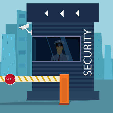 barrier: Border Passport Control or Security Checkpoint with a Boom Barrier Gate. Traffic police man sitting in sentry box with video surveillance. Cartoon flat style