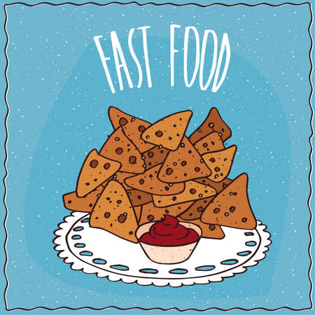 chips and salsa: Tortilla chips, known as nachos, with red liquid condiment, similar to barbecue sauce or salsa sauce. Blue background and lettering Fast food. cartoon style