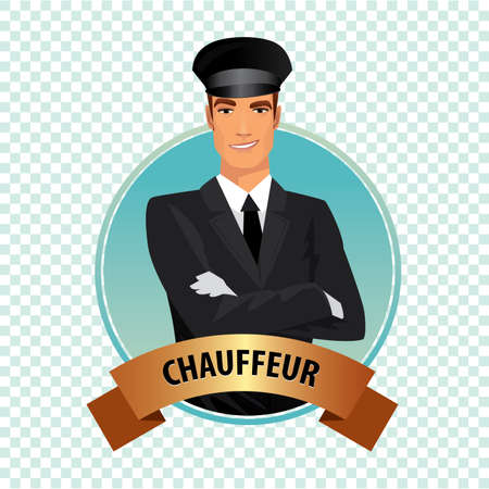 Isolate round icon on white background with chauffeur, driver of luxury car, standing, dressed in black suit or tuxedo, dress shirt, tie, white leather gloves and hat Illustration