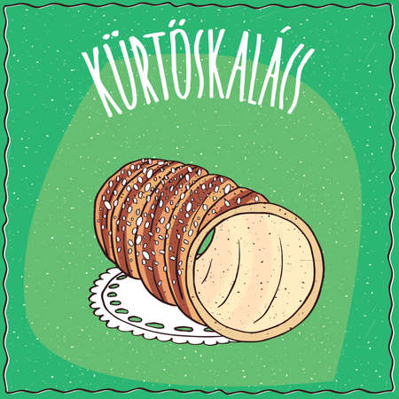 alimentation: Classic Hungarian spit cake, known as kurtosh kalach, topped with sugar, lie on a lacy napkin. Green background and lettering Kurtoskalacs. Handmade cartoon style Illustration