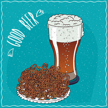 brewage: Pile of pretzels with glass of beer such as ale or lambic. Blue background and lettering Good beer. cartoon style Illustration