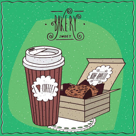 drinkable: Coffee in paper cup and cake in carton box, lie on lacy napkin. To go kit for breakfast concept. Ornate lettering bakery. cartoon style