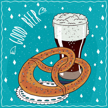 brewage: Baked bread similar to pretzel or kringle with glass of dark beer such as  porter. Blue background and lettering Good beer. cartoon style