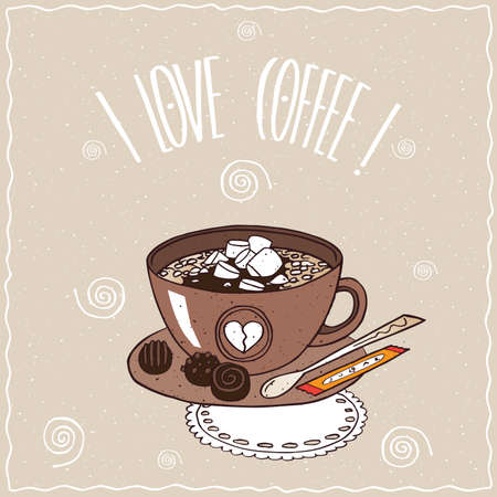 starter: Cute brown cup of coffee with marshmallow, on saucer with spoon, sugar stick and chocolate candies, lie on lacy napkin. Brown background. cartoon style