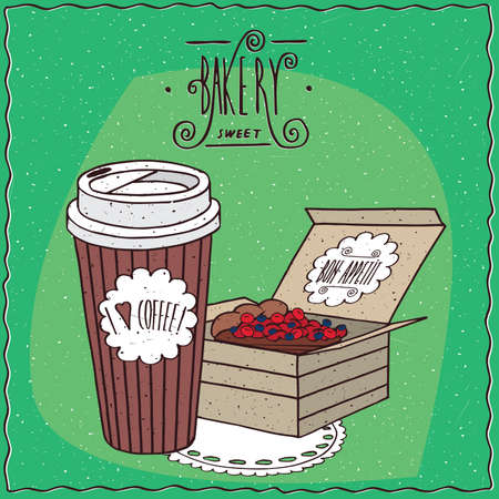 Coffee in paper cup and berry pie in carton box, lie on lacy napkin. To go kit for breakfast concept. Ornate lettering bakery. cartoon style Illustration