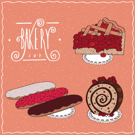 afters: Bakery set with red berries, cherry or currant. Pie, Three different glazed eclair, Biscuit roll. cartoon style