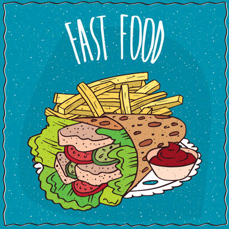 chips and salsa: Hungarian fast food with twisted pita looks like gyros and french fries or finger chips with red liquid flavoring, similar to salsa sauce or ketchup