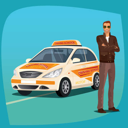 Young auto driving instructor standing and smiling. Full body view. In background driving school vehicle. Drivers education concept. Cartoon style