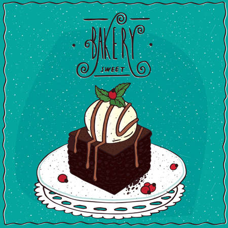 Square brownie with vanilla ice cream, lie on lacy napkin. Cyan background and ornate lettering bakery. cartoon style