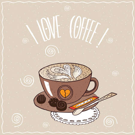 afters: Cute brown cup of coffee with pattern of milk foam, on saucer with spoon, sugar stick and chocolate candies, lie on lacy napkin. cartoon style Illustration