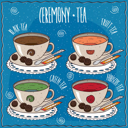 afters: Set of cups with different tea with the names, black, fruit, green, hibiscus, on a lacy napkin. Blue background and lettering Ceremony tea. cartoon style