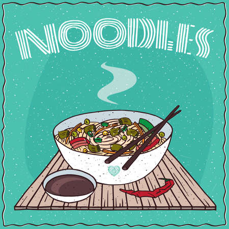 noodle soup: Japanese or Chinese noodle soup with vegetables, known as Ramen or Udon, on wooden mat with chopsticks. Nearby chili pepper and soy sauce in cup. Illustration
