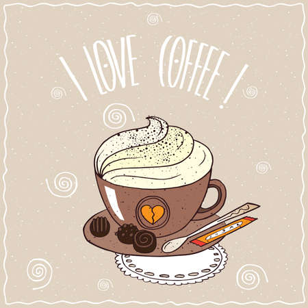 afters: Cute brown cup of coffee with whipped cream, on saucer with spoon, sugar stick and chocolate candies, lie on lacy napkin. Brown background. cartoon style