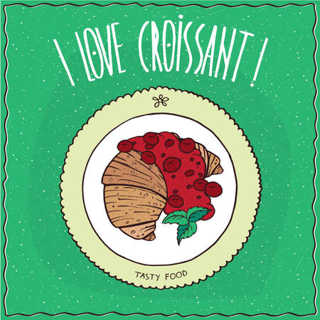 afters: croissant drizzled with syrup or jam of red berries, lie on the plate. Top view. Green background. cartoon style