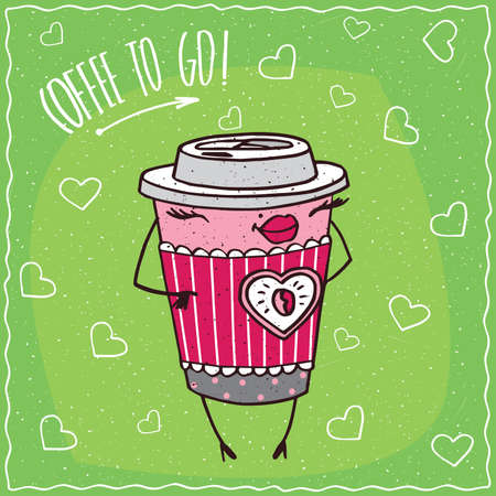 stands: Cute anthropomorphic character paper cup of coffee with elegant coloration looks like a girl stands and smiles. Coffee to go concept