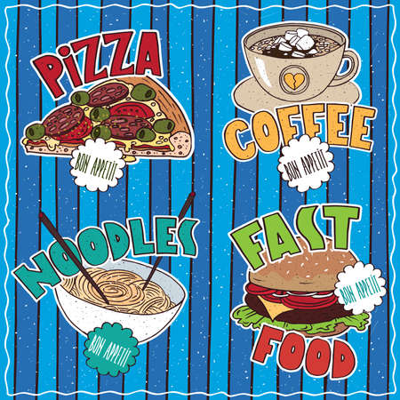 conspicuous: Conspicuous set of four delicious food and drink emblems with lettering in cartoon style. Slice of Pizza, Cup of Coffee, Bowl of Noodles, Hamburger Illustration