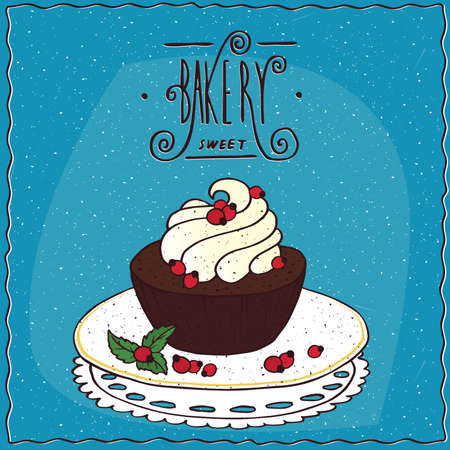 to lie: Round brownie with whipped cream, lie on lacy napkin. Blue background and ornate lettering bakery. Handmade cartoon style Illustration