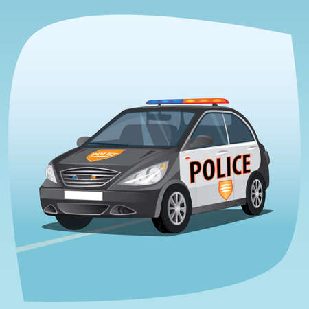 patrol: Isolated, detailed three-dimensional image of patrol car, vehicle with emergency lights system, the main device of police officers, in cartoon style. Side front view Illustration