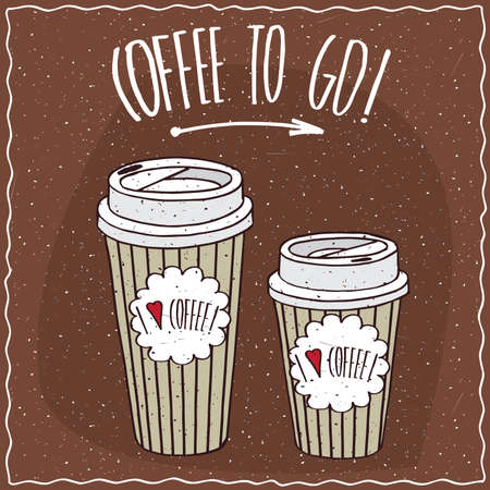 afters: Set of two, different sizes, trendy paper cup of coffee, on which the inscription I love coffee. Ornate lettering Coffee to go. Handmade cartoon style