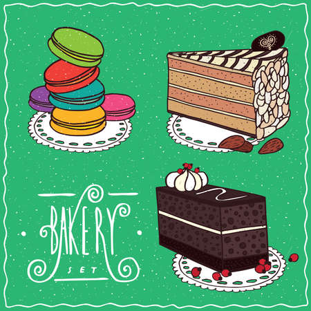 afters: Confectionery set with Esterhazy with almonds, Chocolate coffee cake with layers of biscuit, Multi-colored cookies similar to macaron. cartoon style