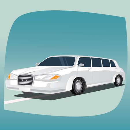 Aislado, imágenes detalladas de limusina blanca en tres dimensiones, de coches de lujo con distancia entre ejes alargada, el dispositivo principal de chóferes, en el estilo de dibujos animados. vista frontal lateral
