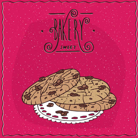 afters: Nut cookies with chocolate chips, lie on lacy napkin. Magenta background and ornate lettering bakery. Handmade cartoon style Illustration