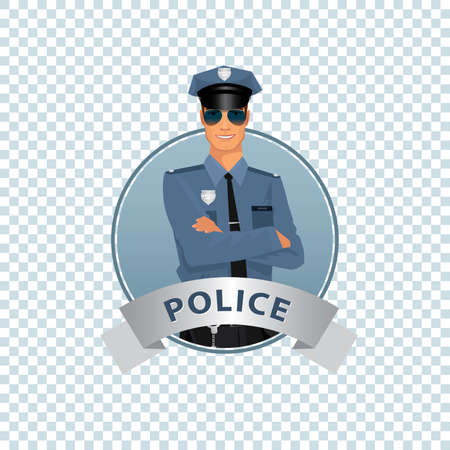 trooper: Isolate round icon on white background with police officer, man of police force, standing full face in uniform of policeman, with typical outfit for law enforcement