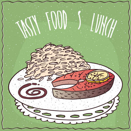 Delicious dish with Slice of Salmon and Large Portion of White Rice, in cartoon style on green background. Hand draw Lettering Tasty Food And Lunch