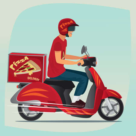 branded: Young man working the pizza courier. Riding on branded red scooter for carries  rush order. Food delivery concept. Side view and cartoon style