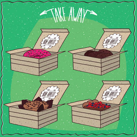 afters: Set of different pastry in carton box, Donut with pink icing, Chocolate cookies, Cake, Berry pie. Ornate lettering Take away. Green background.  cartoon style