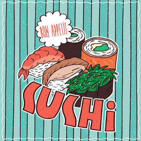 conspicuous: Conspicuous bright colorful food poster with delicious sushi rolls in cartoon style, on blue striped background. Lettering Sushi and Bon Appetit