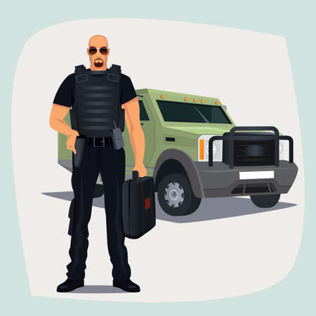 valuables: Cash and Valuables in Transit guard man in bullet proof vest, standing with cash or money suitcase. Right hand on holster keeps firearms. Armored vehicle on background