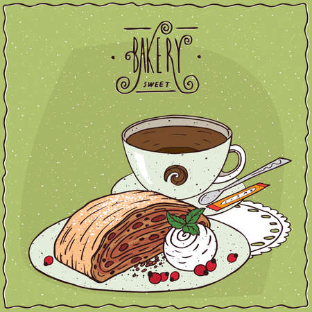 to lie: Apple Viennese strudel with vanilla ice cream with cup of tea, lie on lacy napkin. Green background and ornate lettering bakery. cartoon style