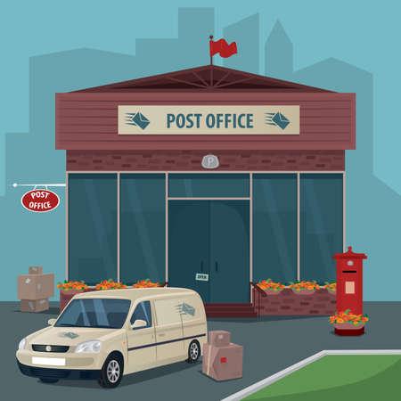 현대 우체국의 외관입니다. 우편 서비스, 상자, 소포 및 오래 된 빨간색 사서함의 차 근처. 플랫 만화 스타일입니다. 빠른 배달 메일 개념입니다. 만화